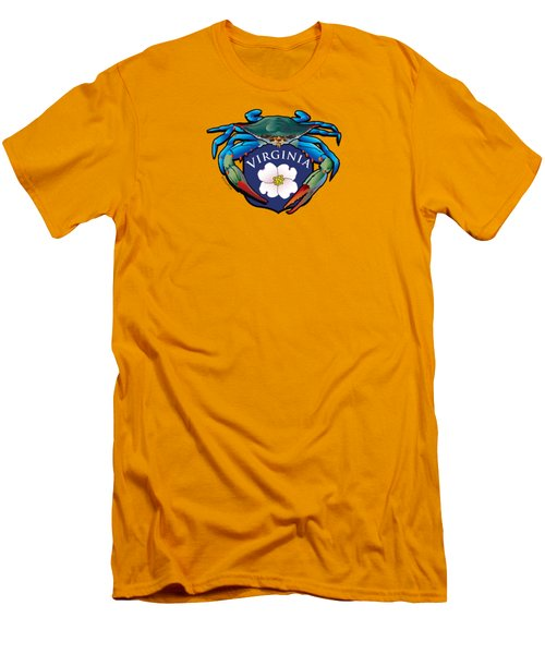 Blue Crab Virginia Dogwood Crest Men's T-Shirt (Athletic Fit)