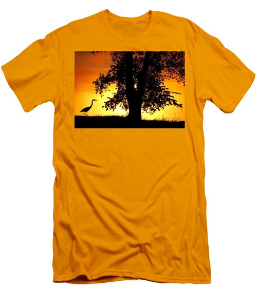 Men's T-Shirt (Slim Fit) featuring the photograph Blue Heron At Sunrise by Sumoflam Photography