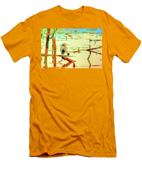 Men's T-Shirt (Slim Fit) featuring the photograph Blue Heron by Dale Stillman