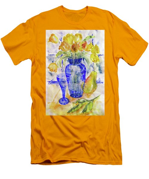 Men's T-Shirt (Slim Fit) featuring the painting Blue Vase by Jasna Dragun