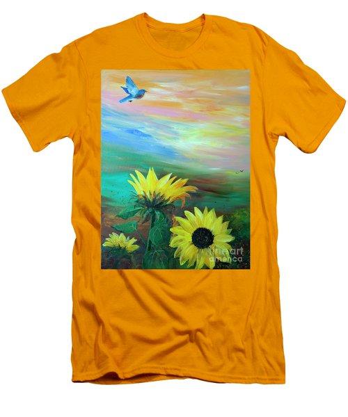 Bluebird Flying Over Sunflowers Men's T-Shirt (Slim Fit) by Robin Maria Pedrero
