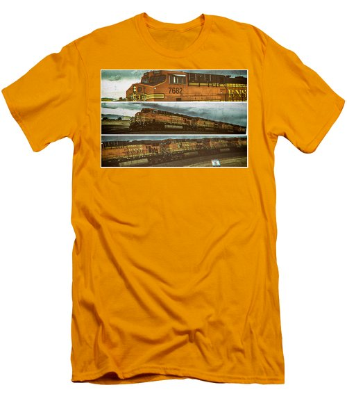 Men's T-Shirt (Slim Fit) featuring the digital art Bnsf 7682 Triptych  by Bartz Johnson