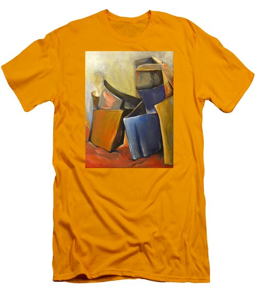 Men's T-Shirt (Slim Fit) featuring the painting Box Scape by Nadine Dennis