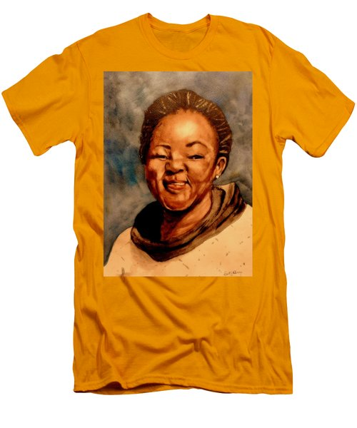 Men's T-Shirt (Slim Fit) featuring the painting Brenda  by Betty-Anne McDonald