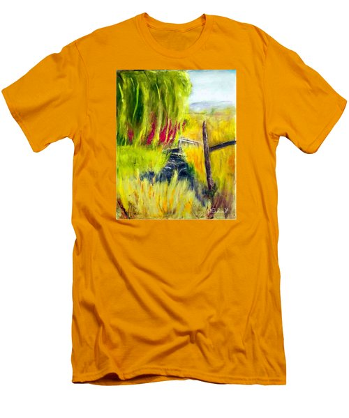 Bridge Over Small Stream Men's T-Shirt (Slim Fit) by Sherril Porter