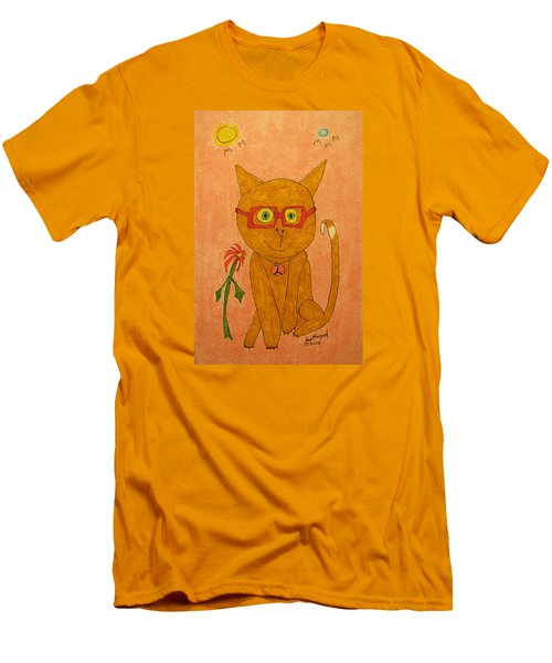 Brown Cat With Glasses Men's T-Shirt (Athletic Fit)