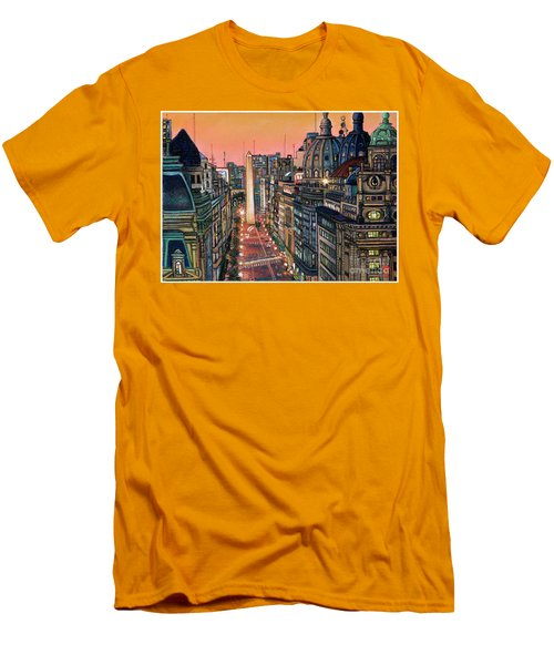 Buenos Aires Twilight Men's T-Shirt (Slim Fit) by Bernardo Galmarini
