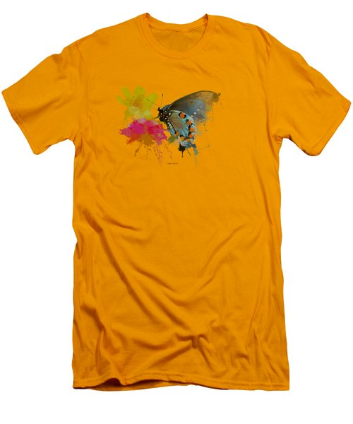 Butterfly On Lantana - Splatter Paint Tee Shirt Design Men's T-Shirt (Slim Fit) by Debbie Portwood