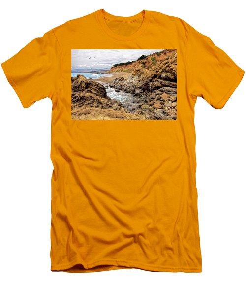 California Coast Rocks Cliffs And Beach Men's T-Shirt (Slim Fit) by Dan Carmichael
