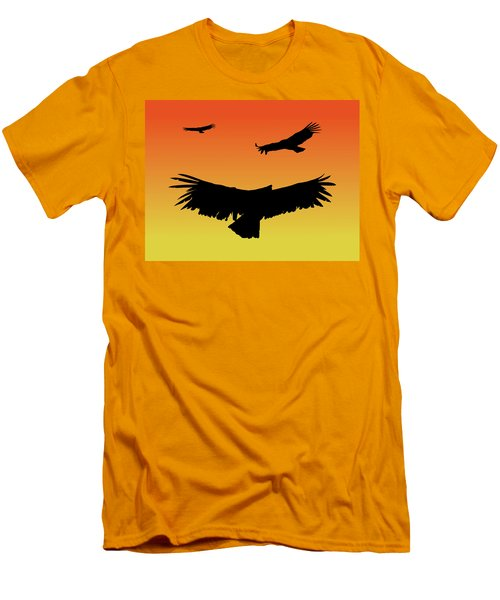 California Condors In Flight Silhouette At Sunset Men's T-Shirt (Athletic Fit)