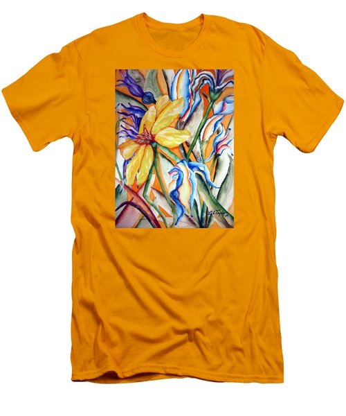 Men's T-Shirt (Slim Fit) featuring the painting California Wildflowers Series I by Lil Taylor