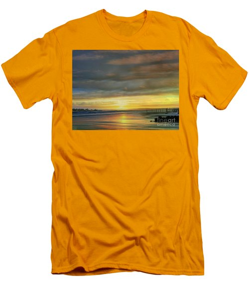 Captivating Sunset Over The Harbor Men's T-Shirt (Slim Fit) by Judy Palkimas