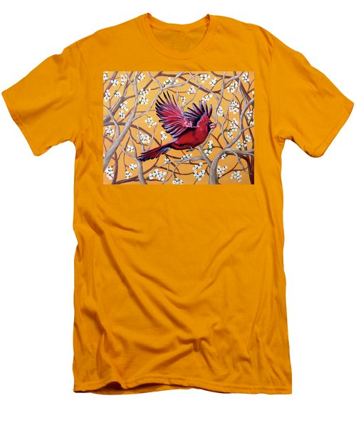 Men's T-Shirt (Slim Fit) featuring the painting Cardinal In Flight by Teresa Wing