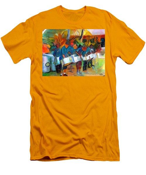 Caribbean Scenes - Steel Band Practice Men's T-Shirt (Athletic Fit)