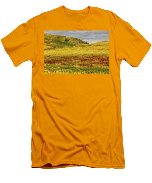 Men's T-Shirt (Slim Fit) featuring the photograph Carrizo  Plain Super Bloom 2017 by Peter Tellone
