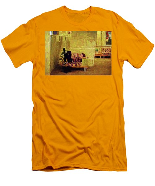 Men's T-Shirt (Athletic Fit) featuring the photograph Casual Student by Lewis Mann
