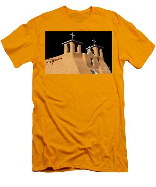 St Francis De Assi Church  New Mexico Men's T-Shirt (Slim Fit) by Bob Christopher