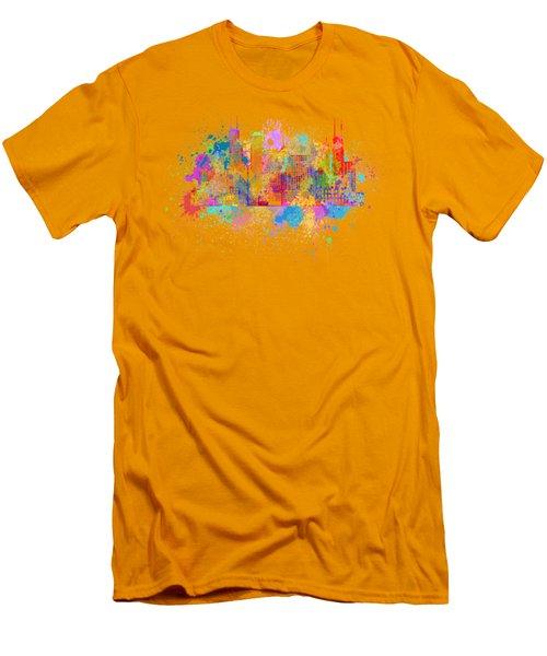 Chicago Skyline Paint Splatter Illustration Men's T-Shirt (Slim Fit) by Jit Lim