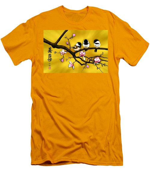 Chickadee On Blooming Magnolia Branch Men's T-Shirt (Athletic Fit)