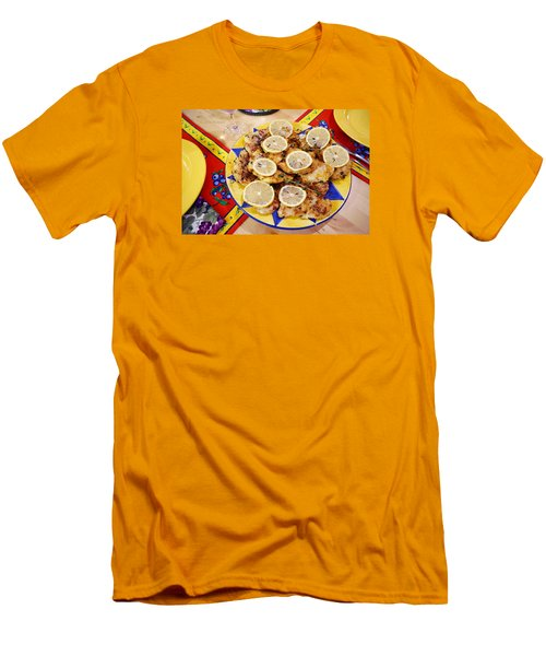 Chicken With Lemon Men's T-Shirt (Slim Fit) by Jana Russon