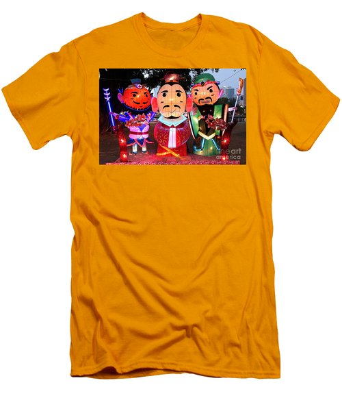 Men's T-Shirt (Slim Fit) featuring the photograph Chinese Lanterns In The Shape Of Three Wise Men by Yali Shi