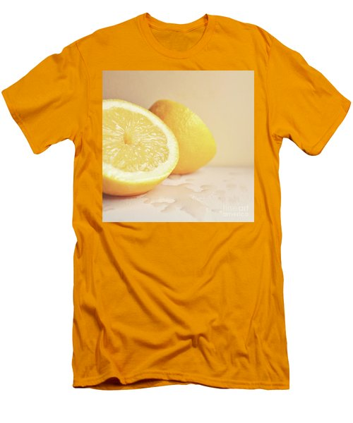 Men's T-Shirt (Slim Fit) featuring the photograph Chopped Lemon by Lyn Randle