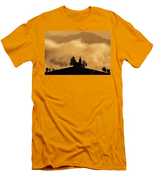 Men's T-Shirt (Athletic Fit) featuring the photograph Church Of St. Thomas #2 - Slovenia by Stuart Litoff