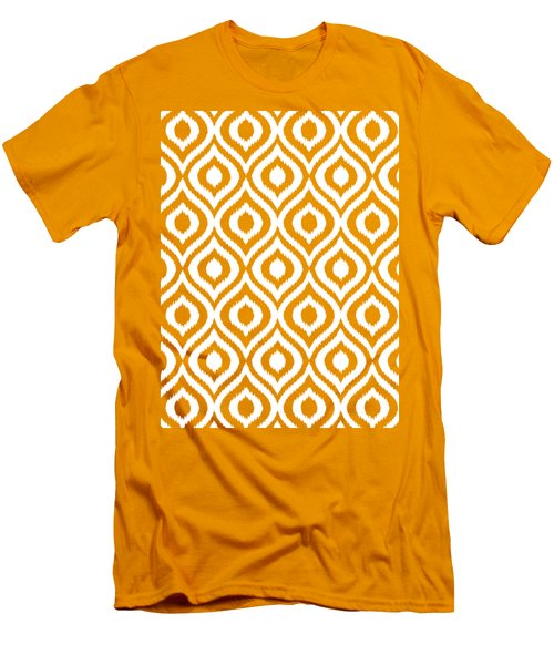 Circle And Oval Ikat In White N05-p0100 Men's T-Shirt (Athletic Fit)