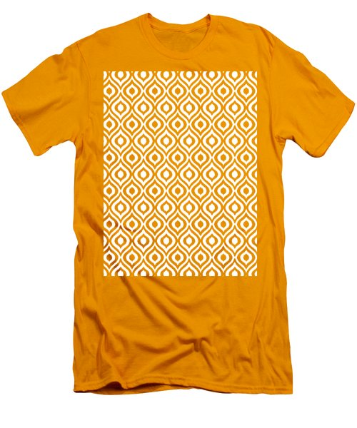 Circle And Oval Ikat In White T09-p0100 Men's T-Shirt (Athletic Fit)