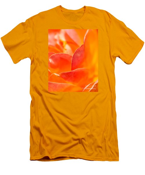 Men's T-Shirt (Athletic Fit) featuring the photograph Close-up Of An Orange Rose Flower by David Perry Lawrence