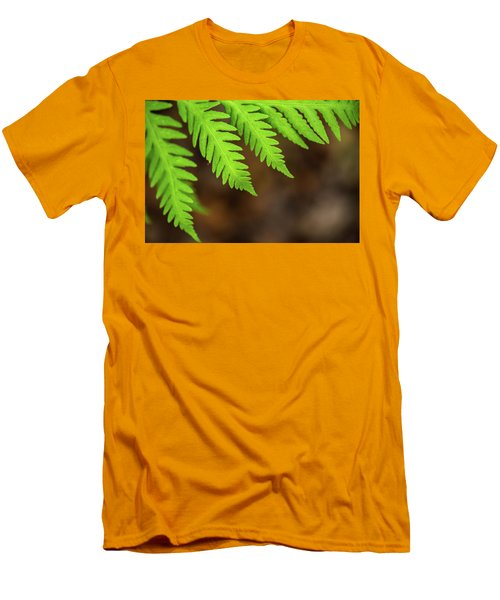 Men's T-Shirt (Athletic Fit) featuring the photograph Closeup Macro Of Green Leaves Show Textured Of The Organs With S by Jingjits Photography