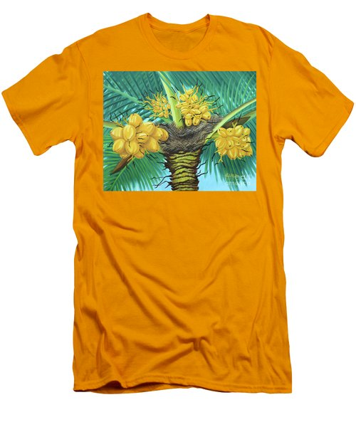 Coconut Palms Men's T-Shirt (Slim Fit) by Val Miller