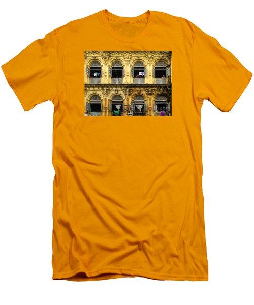 Colonial Facade Bo Soon Pat Street 8th Ward Central Yangon Burma Men's T-Shirt (Slim Fit) by Ralph A  Ledergerber-Photography