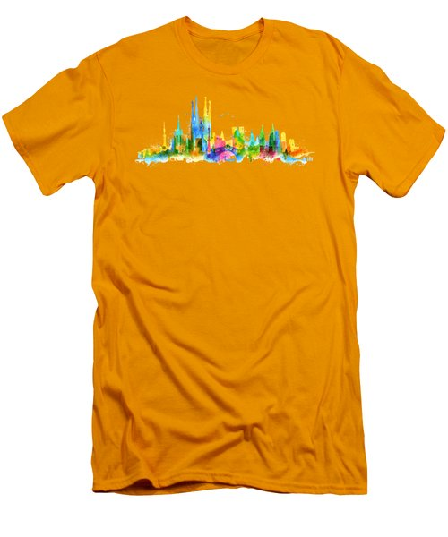 Color Barcelona Skyline 01 Men's T-Shirt (Slim Fit) by Aloke Creative Store