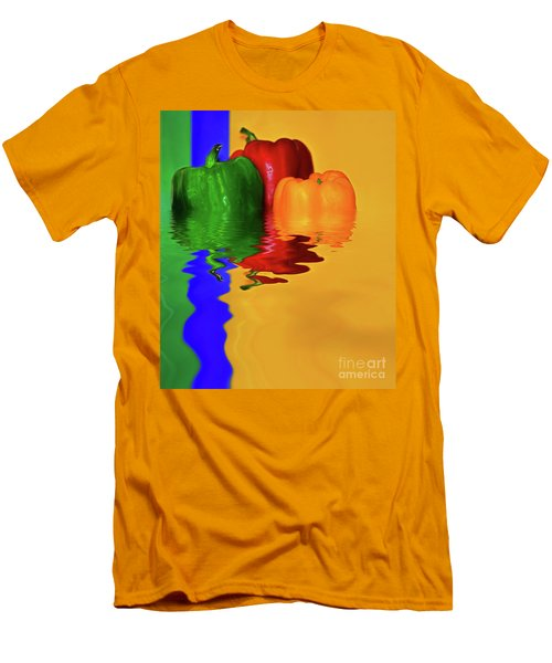 Men's T-Shirt (Slim Fit) featuring the photograph Color Pop Peppers By Kaye Menner by Kaye Menner