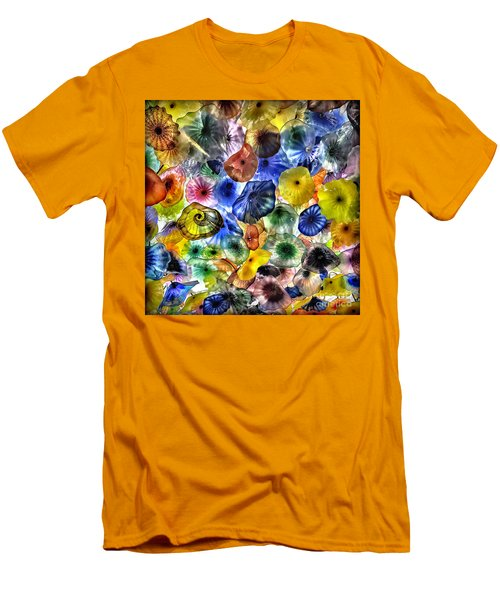 Colorful Glass Ceiling In Bellagio Lobby Men's T-Shirt (Slim Fit) by Walt Foegelle