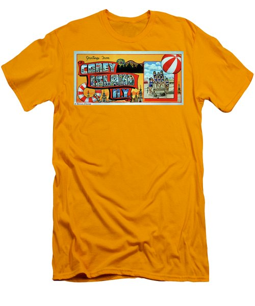 Coney Island Post Card Men's T-Shirt (Athletic Fit)