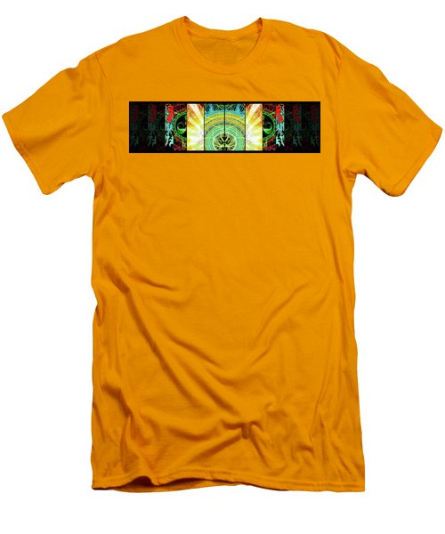 Men's T-Shirt (Athletic Fit) featuring the mixed media Cosmic Collage Mosaic Right Side Mirrored by Shawn Dall
