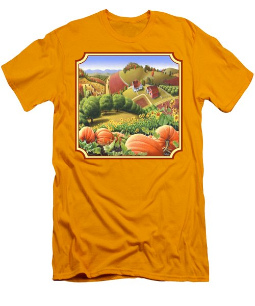 Country Landscape - Appalachian Pumpkin Patch - Country Farm Life - Square Format Men's T-Shirt (Slim Fit) by Walt Curlee