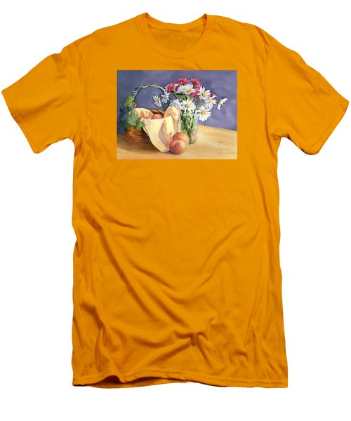 Men's T-Shirt (Slim Fit) featuring the painting Daisies And Peaches by Vikki Bouffard