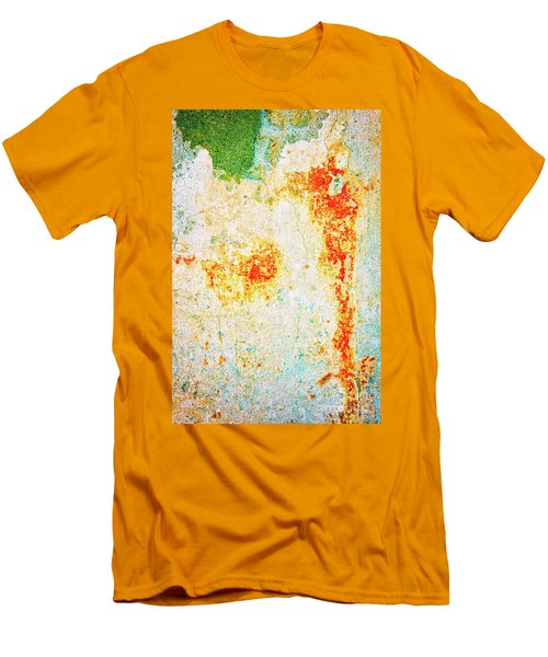 Men's T-Shirt (Athletic Fit) featuring the photograph Decayed Wall With Orange Paint by Silvia Ganora