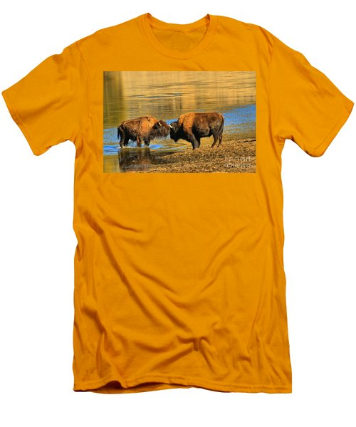 Men's T-Shirt (Slim Fit) featuring the photograph Discussing The Crossing by Adam Jewell