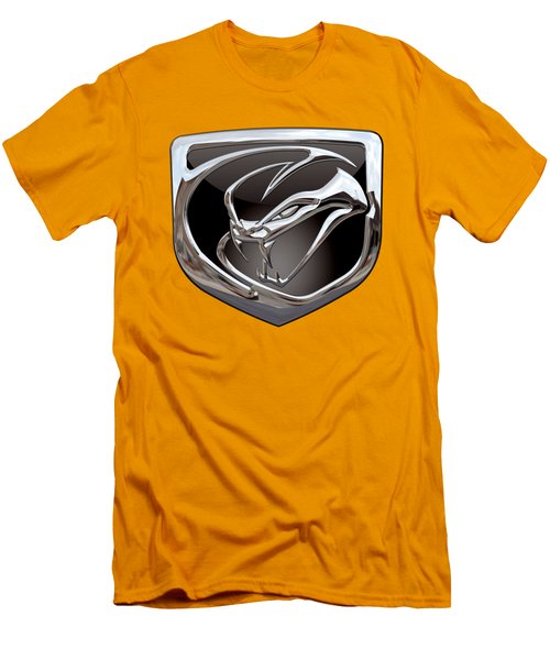 Dodge Viper 3 D  Badge Special Edition On Yellow Men's T-Shirt (Slim Fit) by Serge Averbukh
