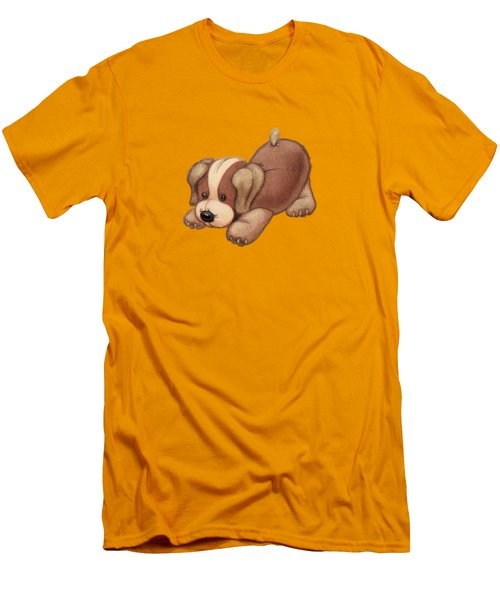 Dog Pounce Men's T-Shirt (Slim Fit) by Andy Catling