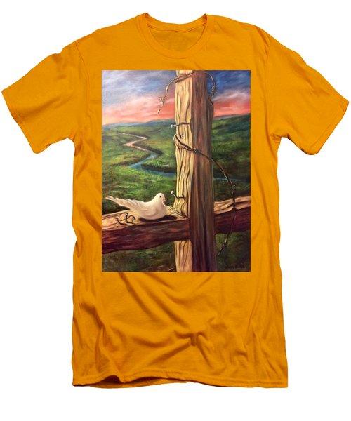 Men's T-Shirt (Slim Fit) featuring the painting Dove On A Cross  Paloma  En Una Druz by Randol Burns