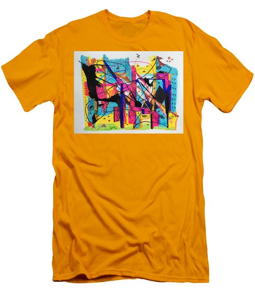 Downtown --where All The Lights Are Bright Men's T-Shirt (Athletic Fit)