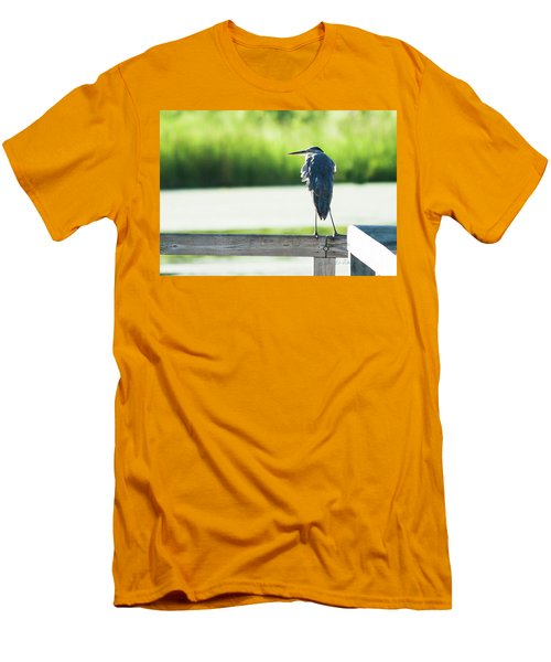 Early Morning Great Blue Heron Men's T-Shirt (Slim Fit) by Edward Peterson