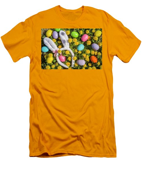 Men's T-Shirt (Slim Fit) featuring the photograph Easter Eggs And Bunny Ears by Teri Virbickis