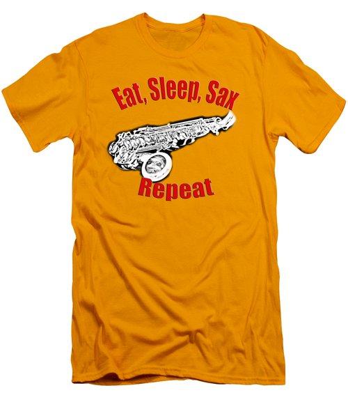 Eat Sleep Sax Repeat Men's T-Shirt (Slim Fit) by M K  Miller