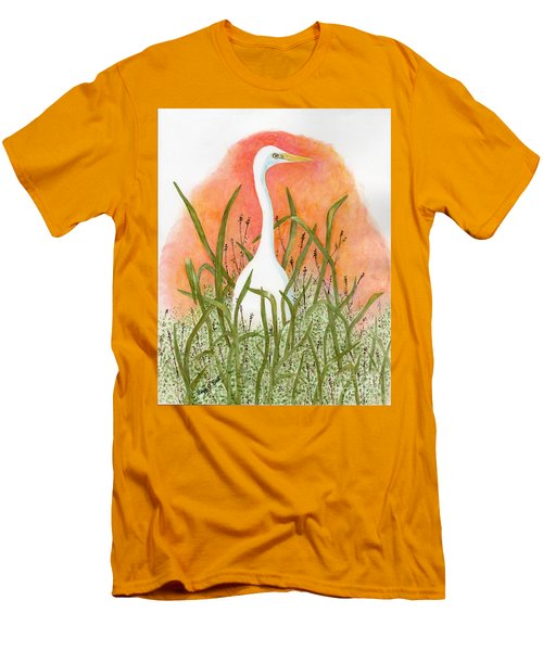 Men's T-Shirt (Slim Fit) featuring the painting Egret Color In Sunset by Peggy A Borel